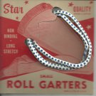 ROLL GARTERS- Small- carded pair- Blue and white-   Vintage.