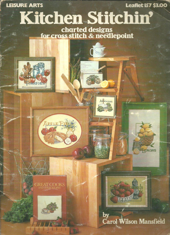 Leisure arts kitchen stitchin 39 charted designs for cross for Cross stitch kitchen designs
