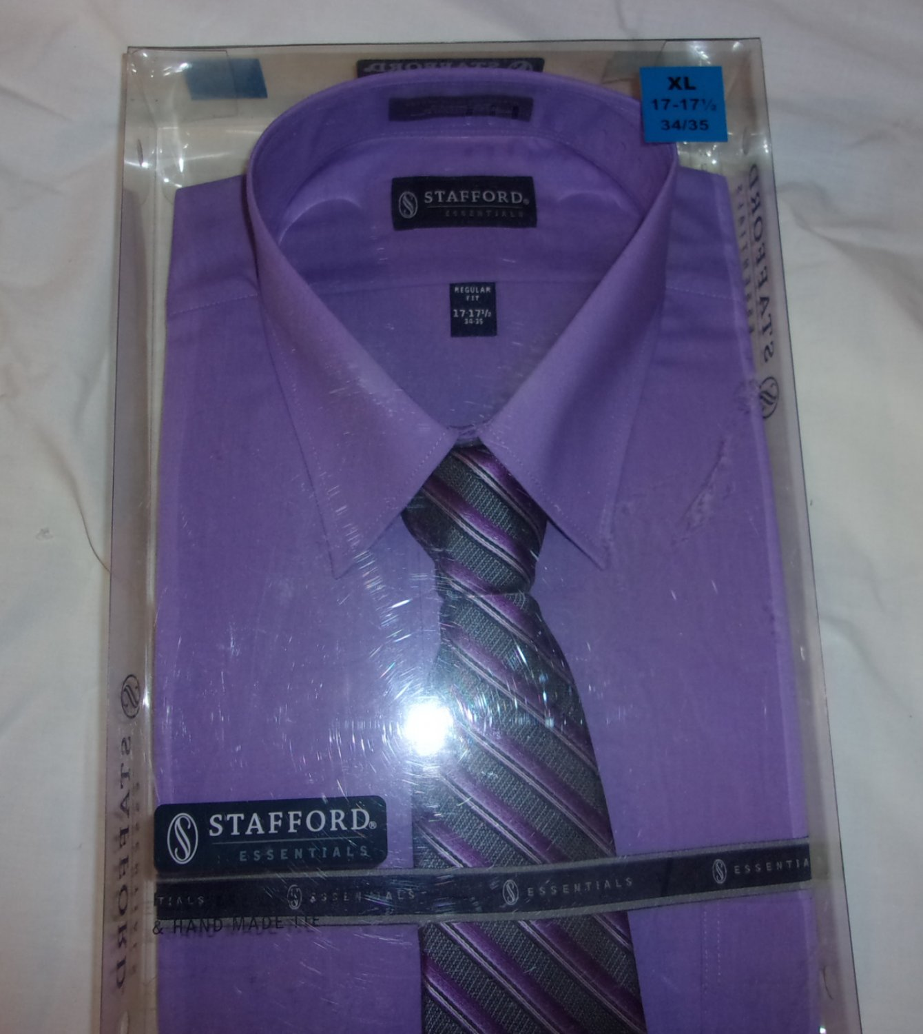 Stafford Shirt- with tie  Size 17 1/2 Sleeve 34-35- Purple