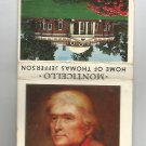 Monticello Home of Thomas Jefferson matchbook cover