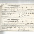 1952  Tuscaloosa, Ala. Poll Tax Receipt  for 1952  husband and wife