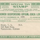 1945 Special Tax Stamp US Internal Revenue- Practitioner dispensing Opium, Coca Leaves, Etc.-