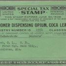 1948 Special Tax Stamp US Internal Revenue- Practitioner dispensing Opium, Coca
