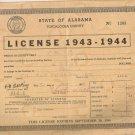 1943-1944   State of Alabama Tuscaloosa County  Business License
