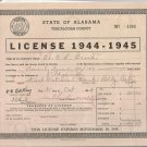 1944-1945   State of Alabama Tuscaloosa County  Business License