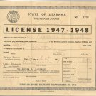 1947-1948   State of Alabama Tuscaloosa County  Business License