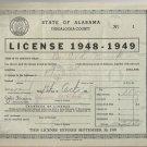 1948-1949   State of Alabama Tuscaloosa County  Business License