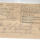 Nov. 15, 1944 Vintage Mileage Rationing Record stub R- 534  for a 1941 Olds
