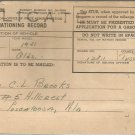 June 14, 1945  Duplicate  Mileage Rationing Record stub R- 534  for a 1941 Olds