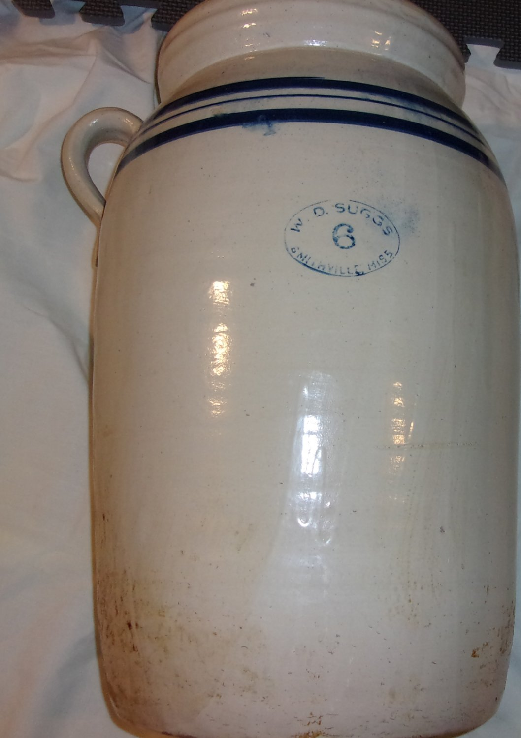 6 gallon Glazed WD Suggs Stoneware Butter Churn Crock Smithville, MS pottery