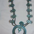 Vintage Turquoise silvertone Squash Blossom necklace