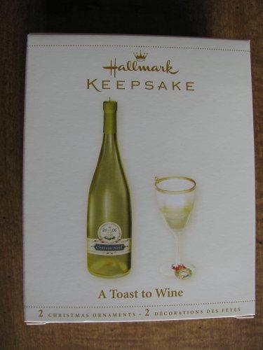 New 2006 A Toast to Wine 2 Hallmark Christmas Ornaments