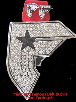 Famous F Stars and Straps Belt Buckle & Earrings BOH