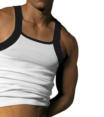 2 PACK LARGE NEW CONTRAST SQUARE CUT TANK TOP T-SHIRTS similar to 2Xist G Unit