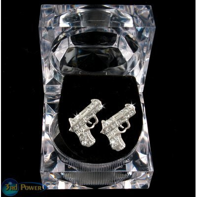 GUNS PISTOLS ICED OUT BLING SILVER JEWELRY EARRINGS NEW 2Pac Tupac