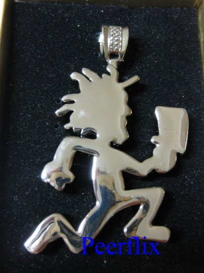 "ICED OUT SILVER HATCHETMAN JUGGALO PENDANT with 24"" SILVER FIGARO CHAIN NECKLACE NEW"