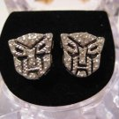 TRANSFORMERS AUTOBOTS SILVER DIAMOND STUD EARRINGS NEW