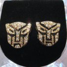 TRANSFORMERS AUTOBOTS GOLD DIAMOND STUD EARRINGS NEW
