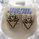 TRANSFORMERS AUTOBOTS DECEPTICON GOLD DIAMOND STUD EARRINGS NEW