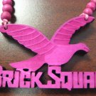 PINK BRICK SQUAD SOULJA BOY WOOD PENDANT PIECE NECKLACE NEW