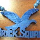 BLUE BRICK SQUAD SOULJA BOY WOOD PENDANT PIECE NECKLACE NEW