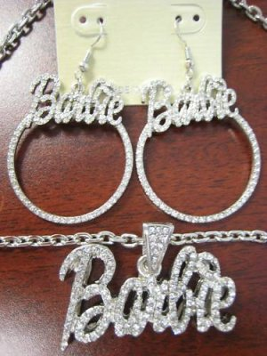 NICKI MINAJ'S BARBIE PENDANT NECKLACE & EARRINGS SILVER