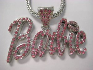 SILVER NICKI MINAJ'S BARBIE PENDANT NECKLACE PINK CZ