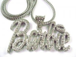 SILVER NICKI MINAJ'S BARBIE PENDANT NECKLACE FASHION CZ