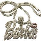 SILVER DOUBLE DIAMOND BARBIE NICKI MINAJ'S BARBIE PENDANT CHARM NECKLACE DS1