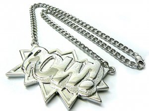 Silver POW Pendant Charm Necklace Chain Kanye West New