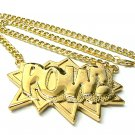 Gold POW Pendant Charm Necklace Chain Kanye West New