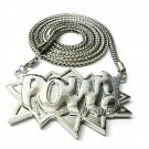 Silver POW Pendant Charm Necklace Large Figaro Chain