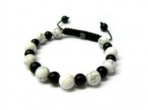 10mm Black White Marble Beads Shamballa Bracelet MB157