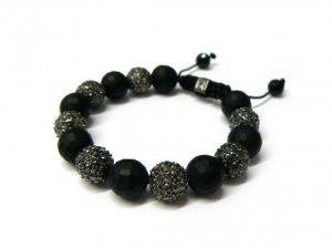 12mm Matte Black 7 Diamond Crystals Shamballa Bracelet HB20HE