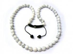 """30"""" White Marble Stone Beads Shamballa Necklace MC161"""