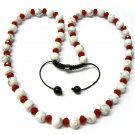 "30"" Red White Marble Beads Shamballa Necklace MC165"