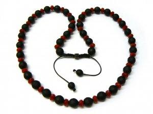 """30"""" Red & Black Matte Beads Shamballa Necklace MC166"""