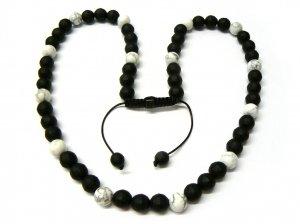 "30"" White Marble & Black Matte Shamballa Necklace MC164"