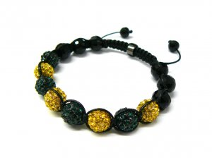 10mm 8 Green Yellow Diamonds Shamballa Bracelets MB25Y-GN