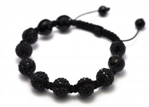 12mm 7 Jet Black Diamond Crystals Shamballa Bracelets HB106BK