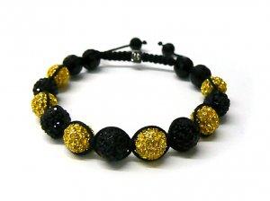 10mm 11 Black Yellow Diamond Crystals Shamballa Bracelets MB64