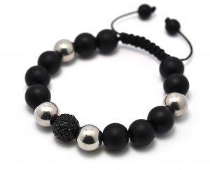 12mm Black Silver Black Matte Shamballa Bracelet HB54BK