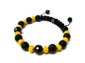 10mm Black Yellow Matte Beads Shamballa Bracelet MB230