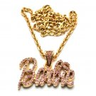 Nicki Minaj Barbie Small Necklace Pendant - Gold Pink MZ34G-PK