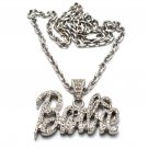 Nicki Minaj Barbie Small Necklace Pendant - Silver Clear MZ34R