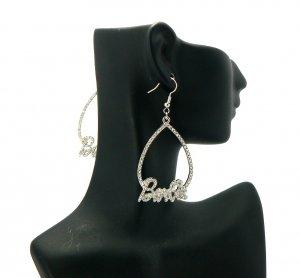 Nicki Minaj Barbie Pearldrop Hook Earrings - Silver Clear GE2R