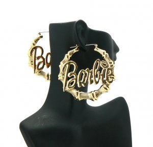 Nicki Minaj Barbie Round Pincatch Earrings - Gold ME1024G