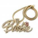 Nicki Minaj Barbie Necklace Pendant - Gold Clear Pink MP655G-1