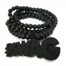 Black Wood SWAG Necklace Pendant Rosary Chain WJ84BK