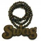Brown Wood SWAG Necklace Pendant Chain WJ114BN